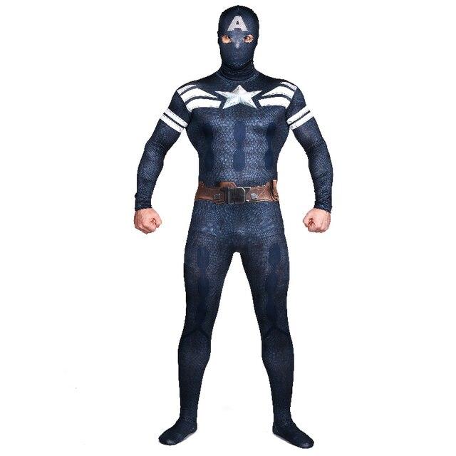 Halloween y fiesta tocados separable azul marino Capitán América Cosplay traje  lycra spandex Zentai 8c54b095026a