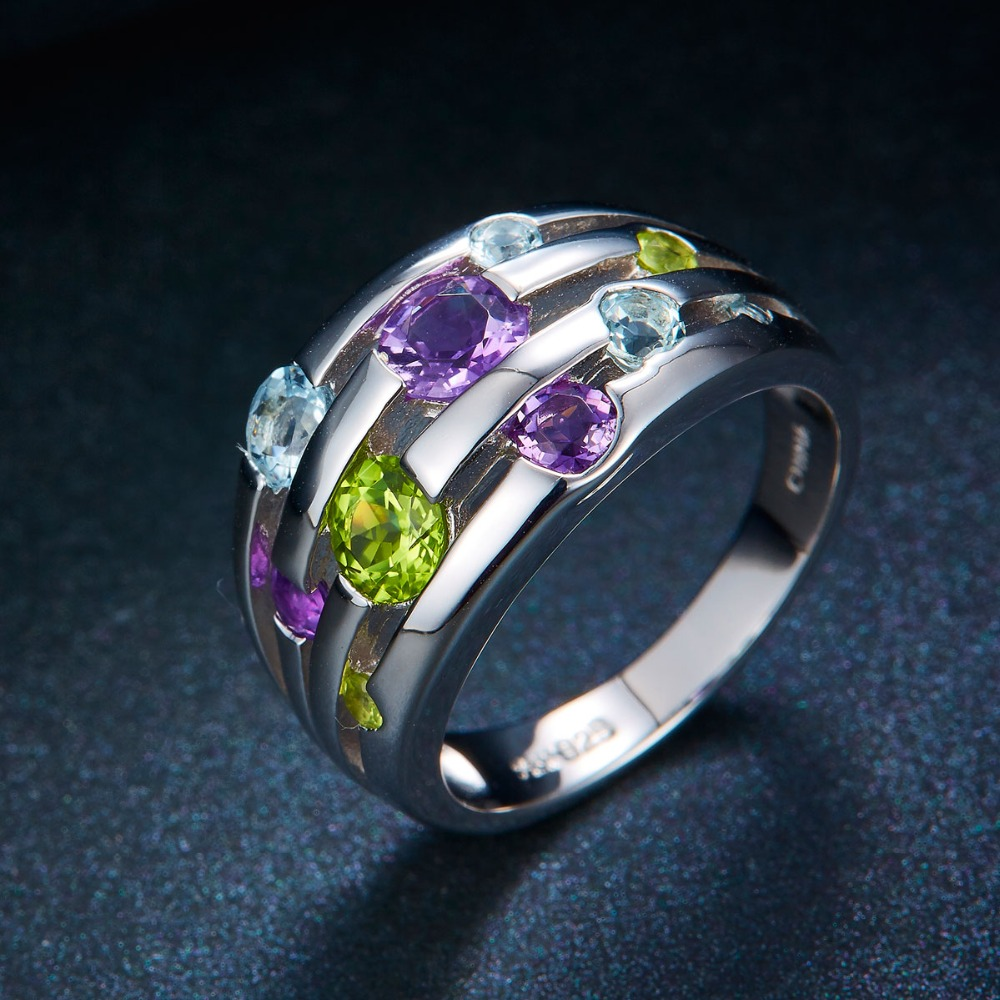 Hutang Natural Amethyst Wedding Rings Peridot Topaz Solid 925 - Smykker - Foto 4