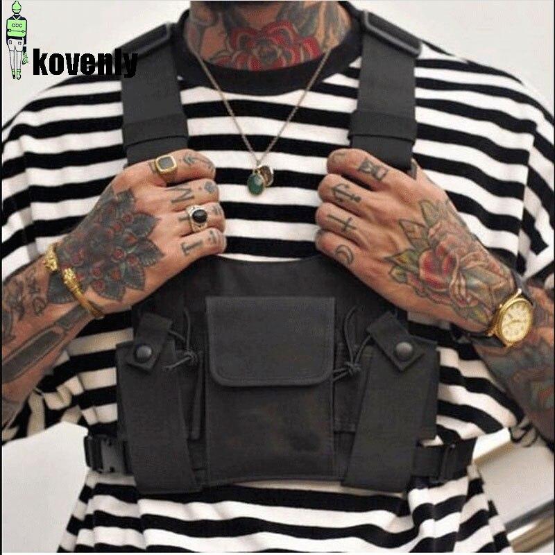 Saco tático preto masculino náilon peito rig saco hip hop streetwear funcional menino equipamento de peito kanye west wist pacote pacote de cintura tático