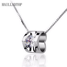 цена S925 Sterling Silver Necklace Crystal 3D Hear Pendant Really Loving Female Chain Necklace Silver Jewelry онлайн в 2017 году