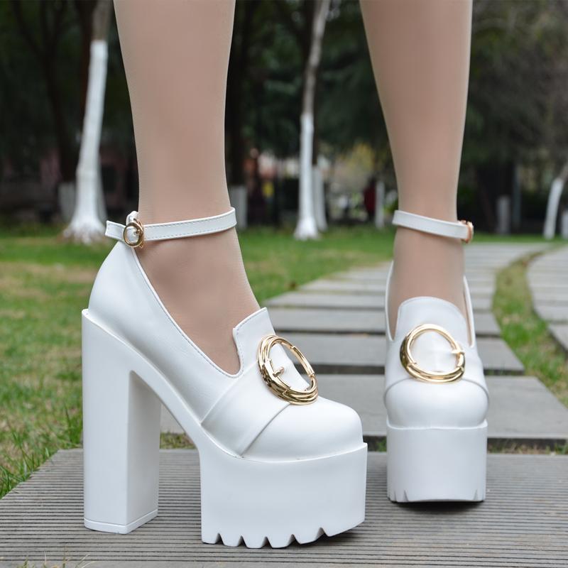 Black Einzigen Herbst Suede Nachtclub Schuhe white Mode Koreanische Plattform 14 Ferse Super Frauen Sexy High Cm Pu Neue Wasserdichte Heels Hohe wqnBwTv4U