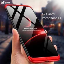 Чехол GKK для xiaomi pocophone f1, три в одном, 360, полная защита, противоударный Жесткий ПК, однотонный чехол для pocophone f1, чехол fundas Shell