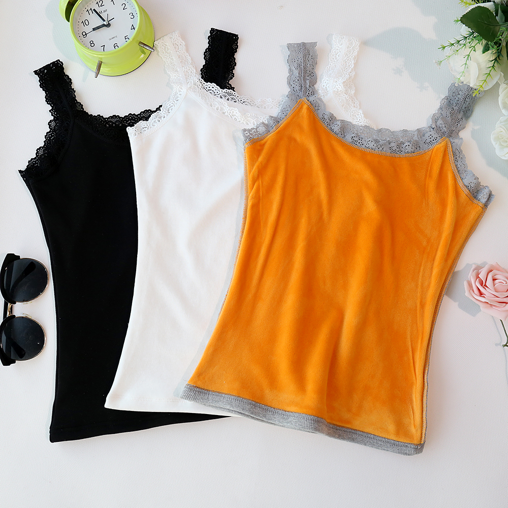 Jvzkass 2018 Autumn and winter new lace side plus velvet thickening camisole female inside warm bottoming shirt tide Z270 in Tank Tops from Women 39 s Clothing