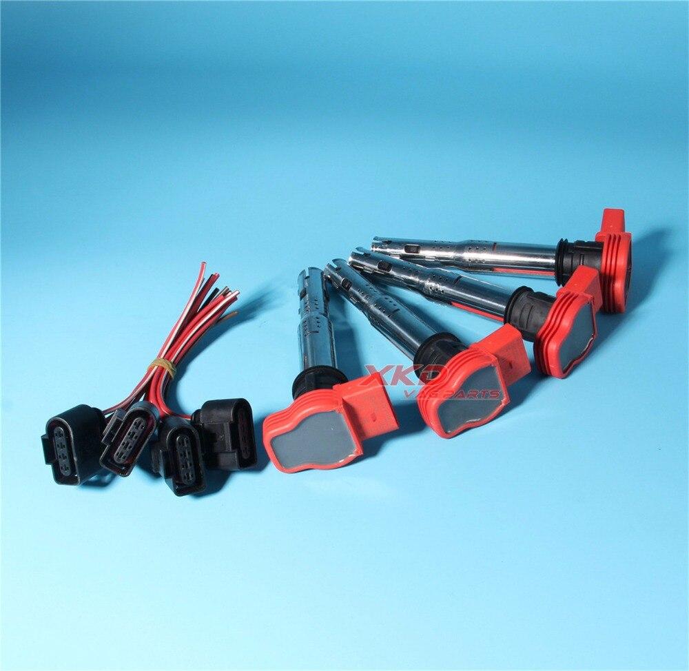 4Pcs Plugs Ignition Coils Set For AUDI A4 S4 A5 A7 Q5 Q7 R8 VW Touareg