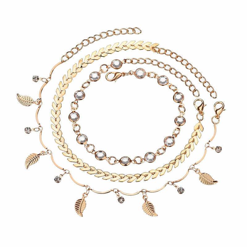 Mostyle 3 шт./компл. женские браслеты для щиколотки Аксессуары для ног летний босиком на пляже браслет под сандалии женские ботильоны