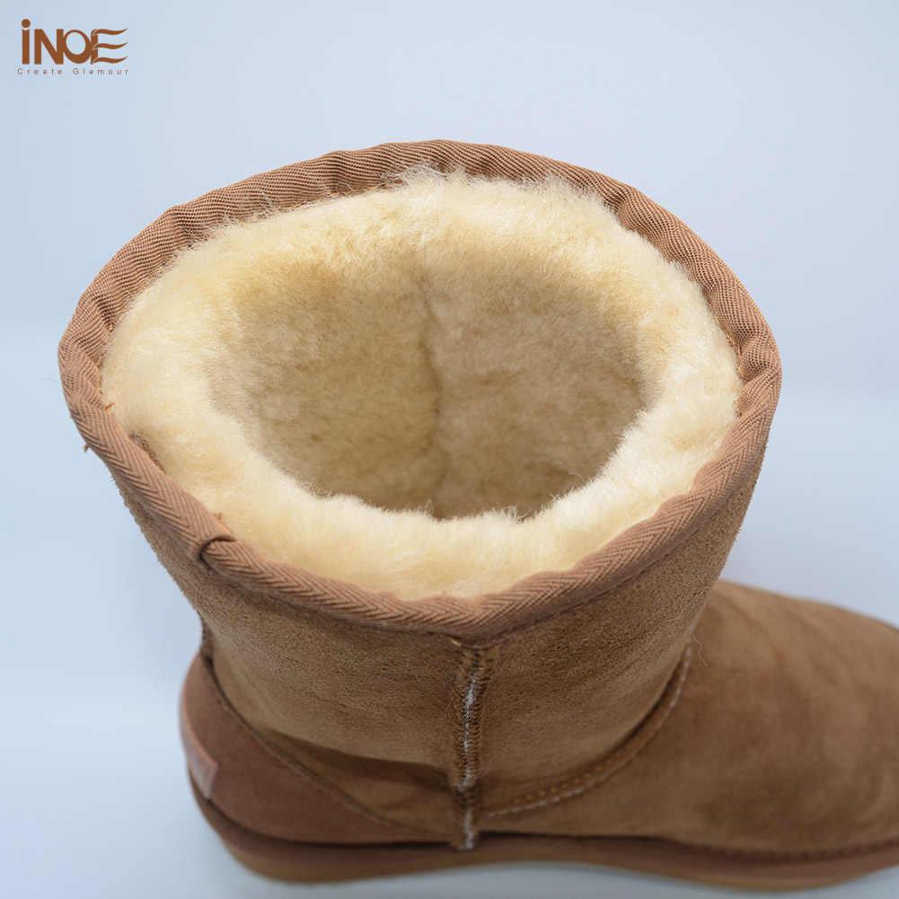 INOE אמיתי כבש עור חורף שלג מגפי נשים Shearling פרווה צמר מרופד חורף נעלי דירות באיכות גבוהה