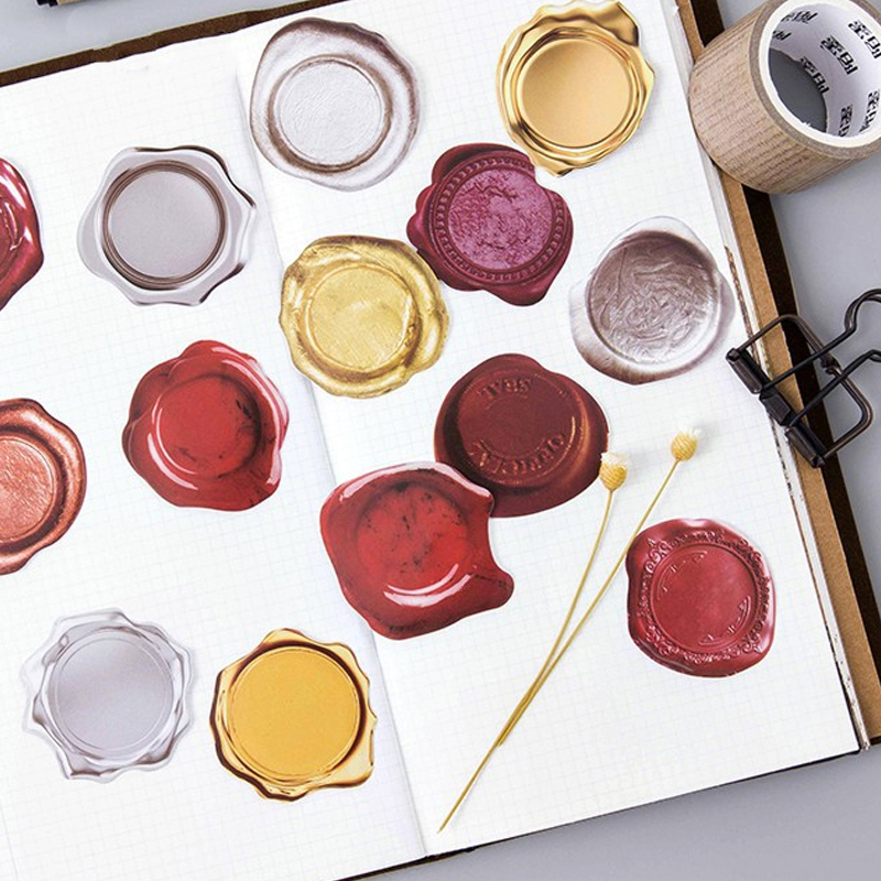 45pcs/lot Creative Cute Wax Seal PVC Decoration Stickers Diy Diary Sticker Scrapbooking Stationery Stickers School Supplies