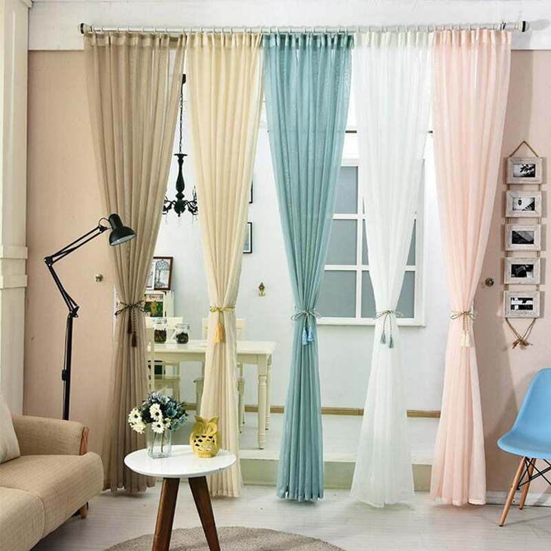 Solid Color Window Tulle Fabric Polyester Cotton Dyed Pink Translucent  Curtains For Living Room Bedroom Home Part 76