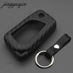 Image 1 - jingyuqin Carbon Fiber Silicone Remote Fob Case For Toyota Highlander Camry Corolla EX VIOS 3 Button Car Flip Folding Key Cover