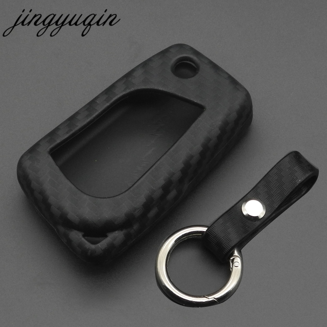 jingyuqin Carbon Fiber Silicone Remote Fob Case For Toyota Highlander Camry Corolla EX VIOS 3 Button Car Flip Folding Key Cover