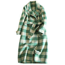 100% Wool Coat For Women 2018 New Winter Cashmere Coats Women's Fashion Plaid Woolen Green Woolen Overcoat Yellow Office Lady(China)