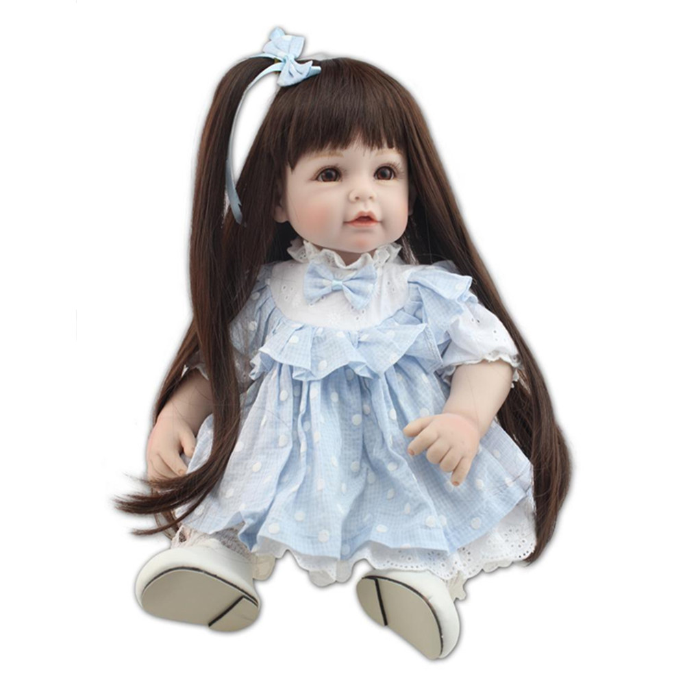 Fashion 45 CM Silicone Girl Dolls with Clothes, Novelty 18 Inch Lifelike Baby Princess Doll Plaything Toys for Girls npk collection handmade bjd doll 18 inch girl doll include clothes shoes plastic baby princess doll plaything toy for children