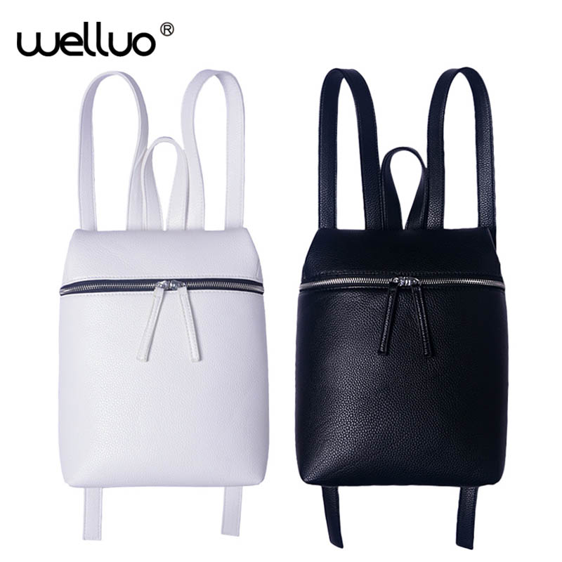 no white Simple Backpack Black White Women Designer Pu Leather Solid Color Backpacks Female Travel Shoulder Bag Rucksack XA867B simple designer small backpack women white and black travel pu leather backpacks ladies fashion female rucksack school bags