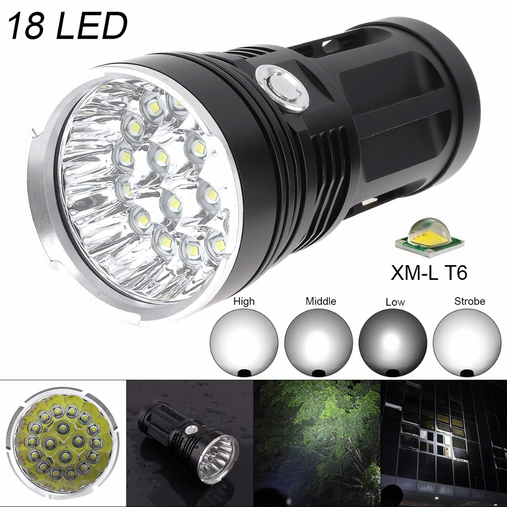 LED Flashlight Super Bright 16/18 XM L T6 LED Flash Light Torch Lamp with Rope for Hunting/ Camping/ Backpacking/ Fishing
