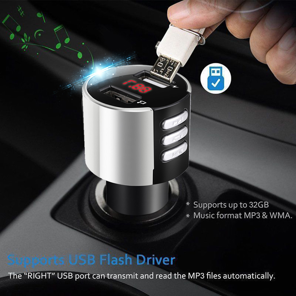Car Kit Handsfree Wireless Bluetooth Car USB Charger FM Transmitter Wireless Radio Adapter LCD MP3 Player 3.4A Car-Styling
