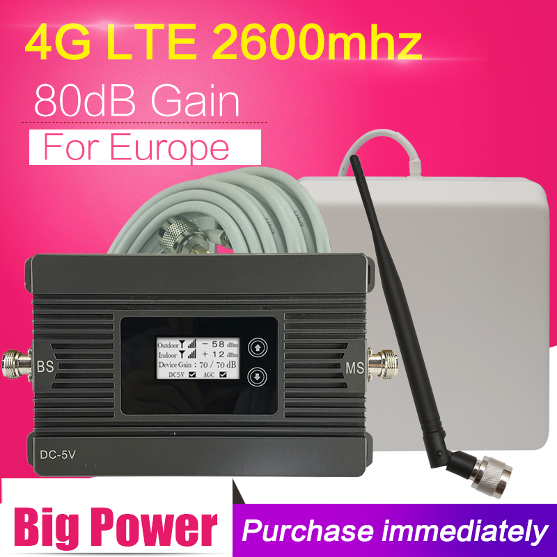 CE RoHS 80dB Big Power 4G Repeater LTE 2600 Mobile Phone Signal Booster 4G LTE 2600 B7 Cell Phone Cellular Amplifier 4G Antenna