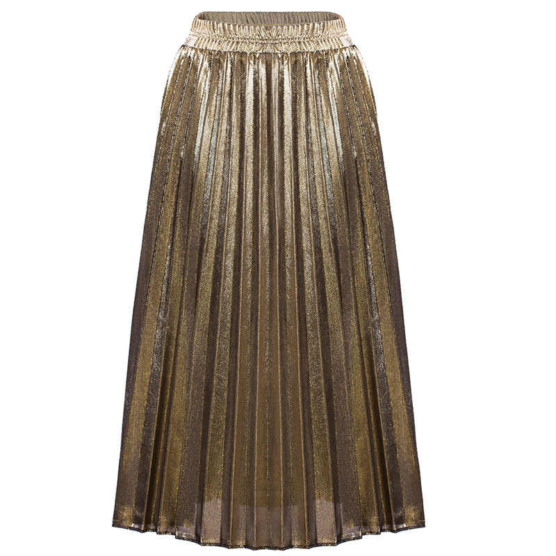 8bdcc2ef53 ... Women Pleated Skirts 2018 Bling Glitter Shiny Gold Silver Flared High  Waist Tutu Party Ladies Spring ...
