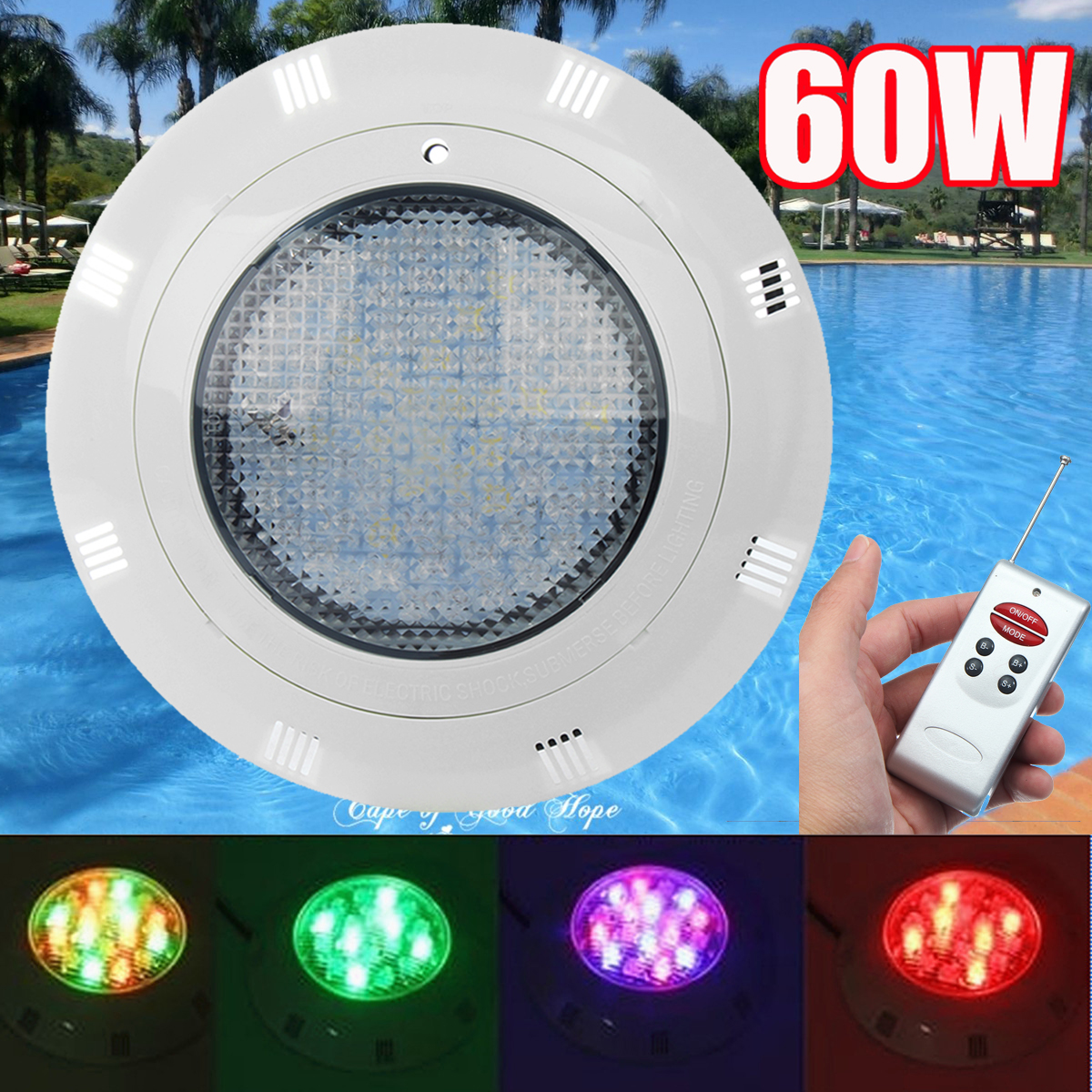 Buy 12v 60w ip68 7 color rgb swimming - Led swimming pool lights suppliers ...