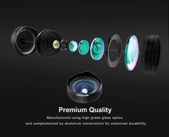 Apexel Optic Pro Portrait lens 18MM HD Wide Angle Camera Lens kit More Landscape for iPhone 7 6s plus & iphone 5 universal clip 4