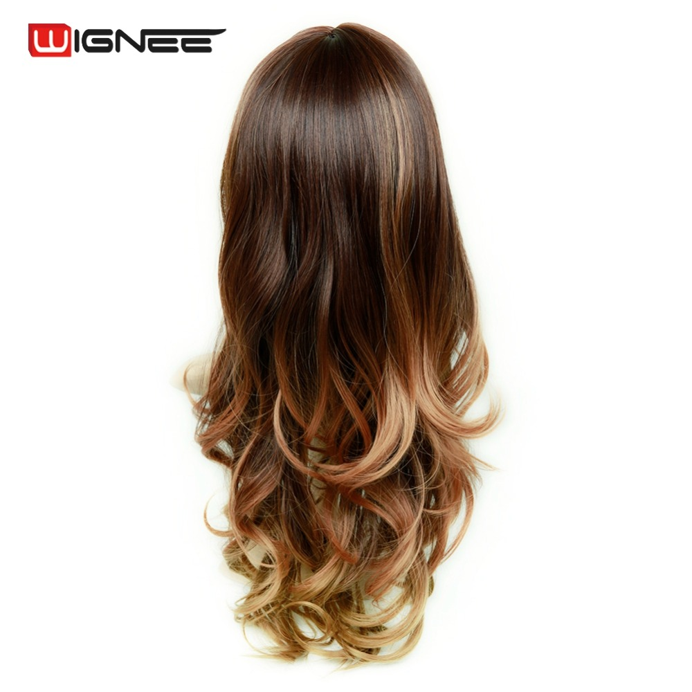Wignee Synthetic Wigs With Bangs For Women Long Hair High Density Temperature 3 Tone Ombre Brown Glueless Cosplay Fake Hair Wigs