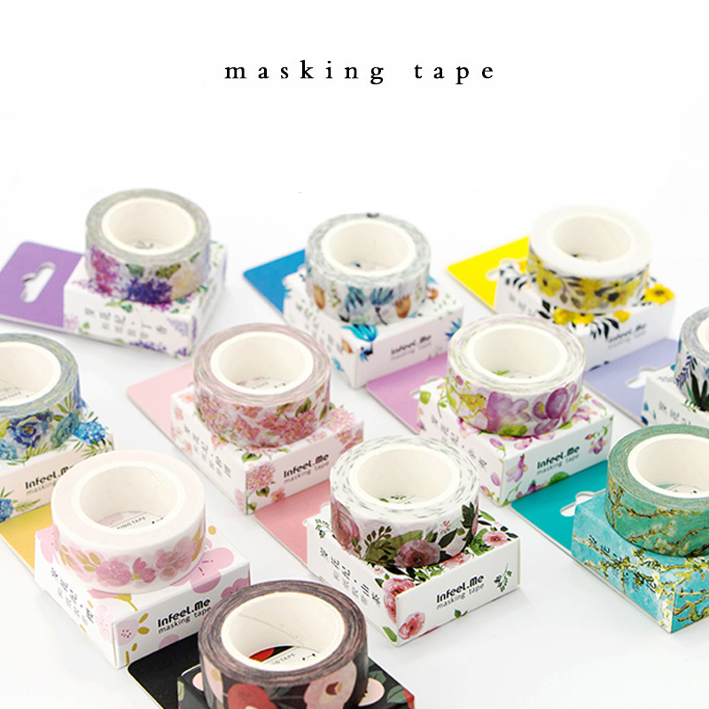 Cute Kawaii Plants Flowers Japanese Masking Washi Tape Decorative Adhesive Tape Decora Diy Scrapbooking Sticker Label Stationery cute kawaii flowers feather cat swan animals decorative scotch tape adhesive masking washi tape paper stickers for scrapbooking