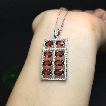 Fashion grace Abacus Rectangle natural red garnet Pendant natural gemstone pendant S925 silver Women party gift fine jewelery