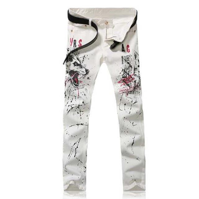 5dc21f6eb3 New Men Italy Fashion Runway White Jeans Mens 3d Wolf Painting Printed  Hiphop Jean Skinny Jean Men 2017 Harem Pants Men Jean P40
