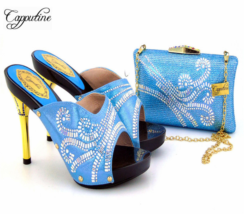 Capputine Latest Style African Shoes And Bag Set New Italian High Heels Shoes And Matching Bag Set For Party Dress Size 37-43 capputine new arrival rhinestone slipper shoes and matching bag set africa style high heels shoes and bag set evening party