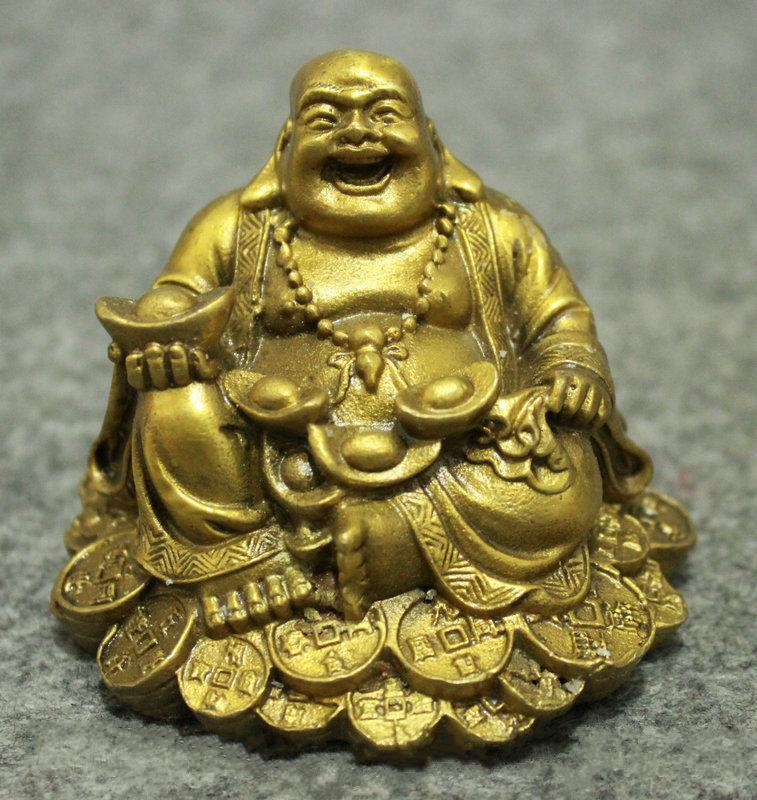 Chinese Buddhism Copper Wealth Happy Laugh Maitreya Buddha Statue
