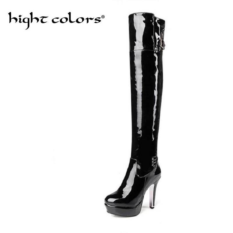 цена Sexy Womens Platform high-heeled over-the-knee japanned leather tall boots plus size wedding shoes steel pipe dance boots 48 онлайн в 2017 году