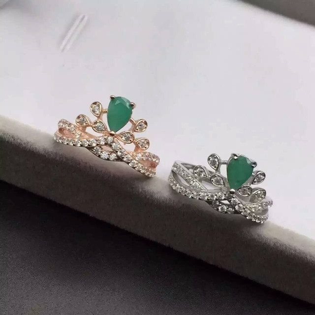 Noble emerald ring for woman genuine 4*6mm drop shape emerald crown wedding ring pure 925 solid sterling emerald jewelry