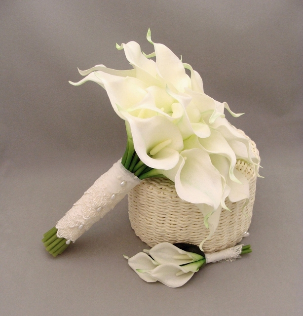 Wedding Flower Handmade Bridal Bridesmaid Wedding Supply Bouquet Artificial Flower Calla Lily Bride Holding Flowers In Stock