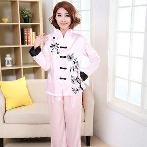 Image 4 - Różowy tradycyjnych chińskich kobiet zestaw jedwabnych piżam haftowany kwiat piżamy garnitur odzież domowa bielizna nocna kwiat 2 sztuk M L XL XXL 3XL