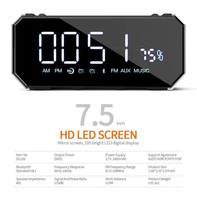 DG100 Altavoz bluetooth reloj led altavoz inalámbrico Mini espejo altavoz inalámbrico radio reloj despertador - 5