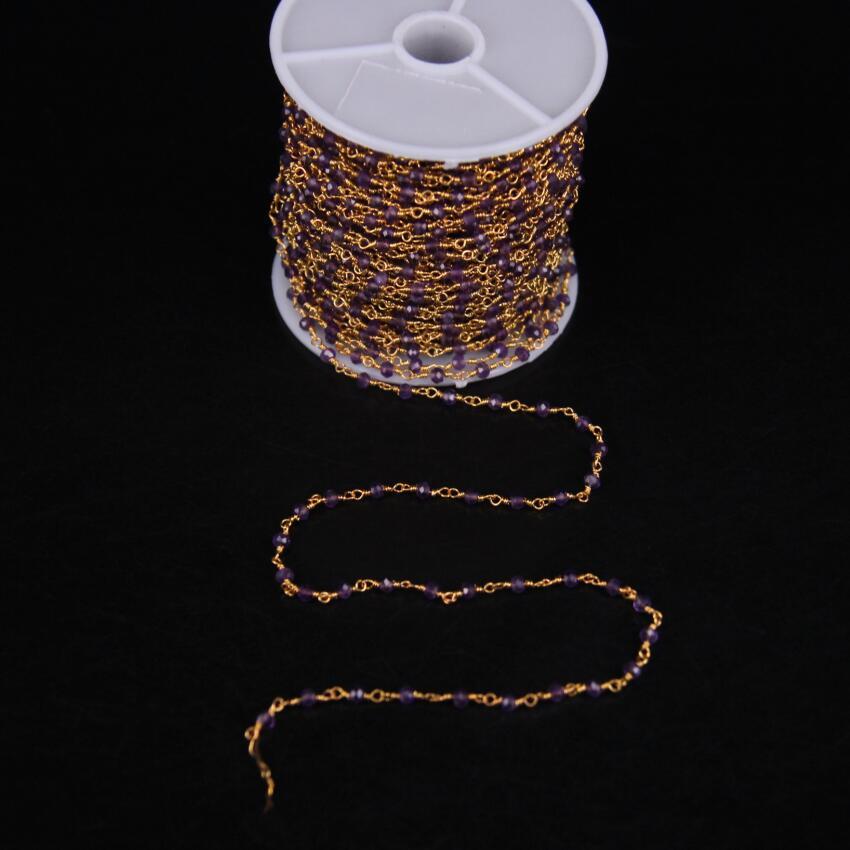 5 mètres, améthyste naturelle à facettes Rondelle perles chapelet chaîne, avec or violet cristal fil enroulé chaîne collier à faire soi-même bijoux