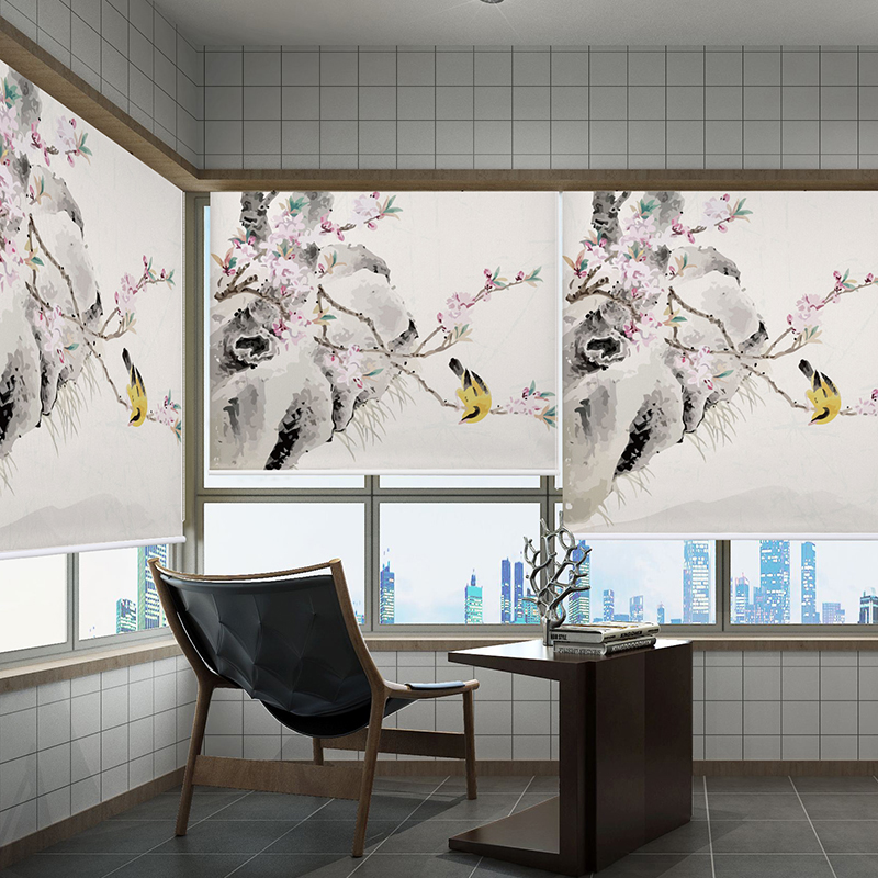 중국 현대 그림 블라인드 꽃과 새 인쇄 블라인드 트리 풍경 디지털 인쇄 블랙 아웃 롤러 블라인드-에서블라인드 ,그늘 & 셔터부터 홈 & 가든 의  그룹 3
