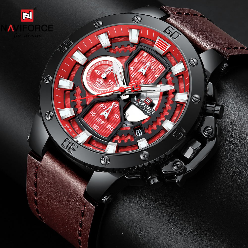2019 NAVIFORCE New Fashion Mens Watches Top Brand Luxury Military Quartz Watch Leather Waterproof Sport Chronograph Watch Men