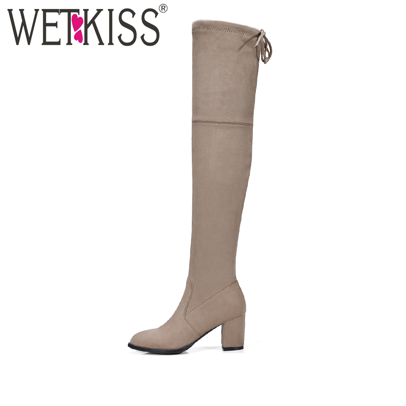 Mature Over-the-Knee Boots 2018 New Arrival Stylish Autumn Stretch Boots Womens High Heel Shoes Female Back Lace Up Footwear