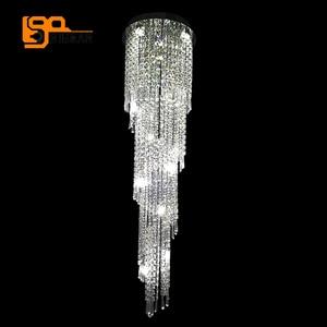 Image 2 - تصميم فاخر طويل الثريات البلورية/ النجف الكريستالي مصباح ليد AC110 220 فولت بريق hanglamp الحديثة الدرج الثريا