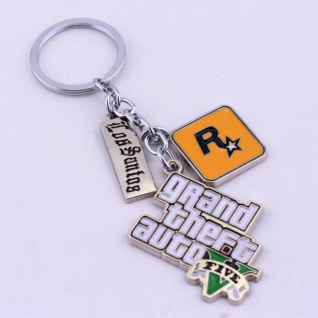 Game PS4 GTA 5 Grand Theft Auto 5 Keychain Key Chain For Men Fans Letter Grand Theft Autob Rock star Keychain Key Buckles 1