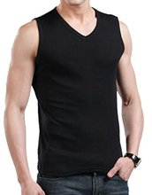 Abetteric Spring Sumer Male's clotingMen's Solid colour V-neck Elastic Undershirt Sleeveless Tank Tops