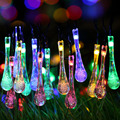 20 LED Water Drop Solar Powered  String Lights LED Fairy Light for Wedding Christmas Party Festival Outdoor Indoor Decoration