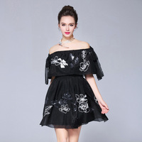 Embroidery Off The Shoulder Party Dress Women A Line Mini Summer Dresses Holiday Festivals S To