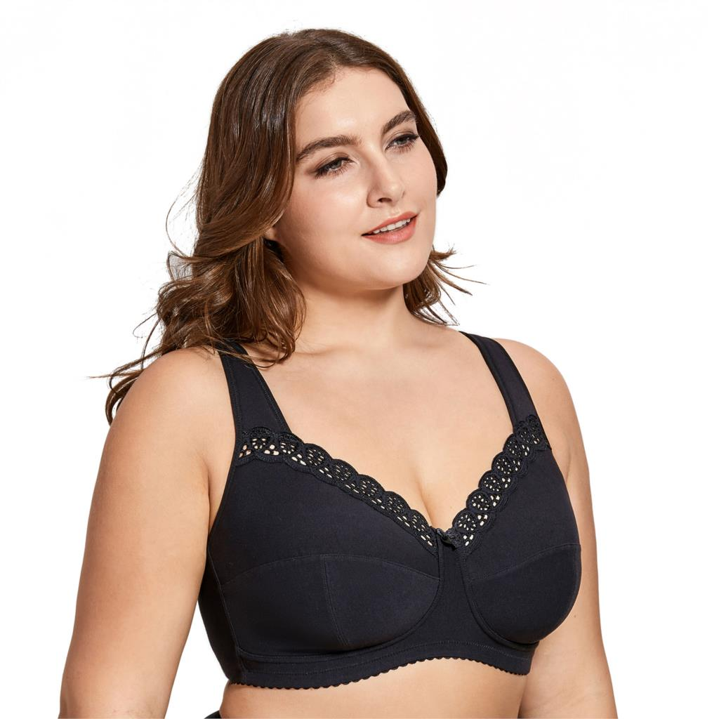 56df8ee921a Aliexpress.com   Buy Delimira Women s Full Coverage Lace Wireless Non Padded  Cotton Bra Plus Size B C D E F H I J from Reliable Bras suppliers on  DELIMIRA ...