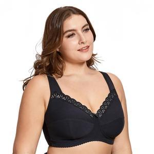 Image 2 - Delimira Womens Full Coverage Lace Wireless Non Padded Cotton Bra Plus Size B C D E F H I J