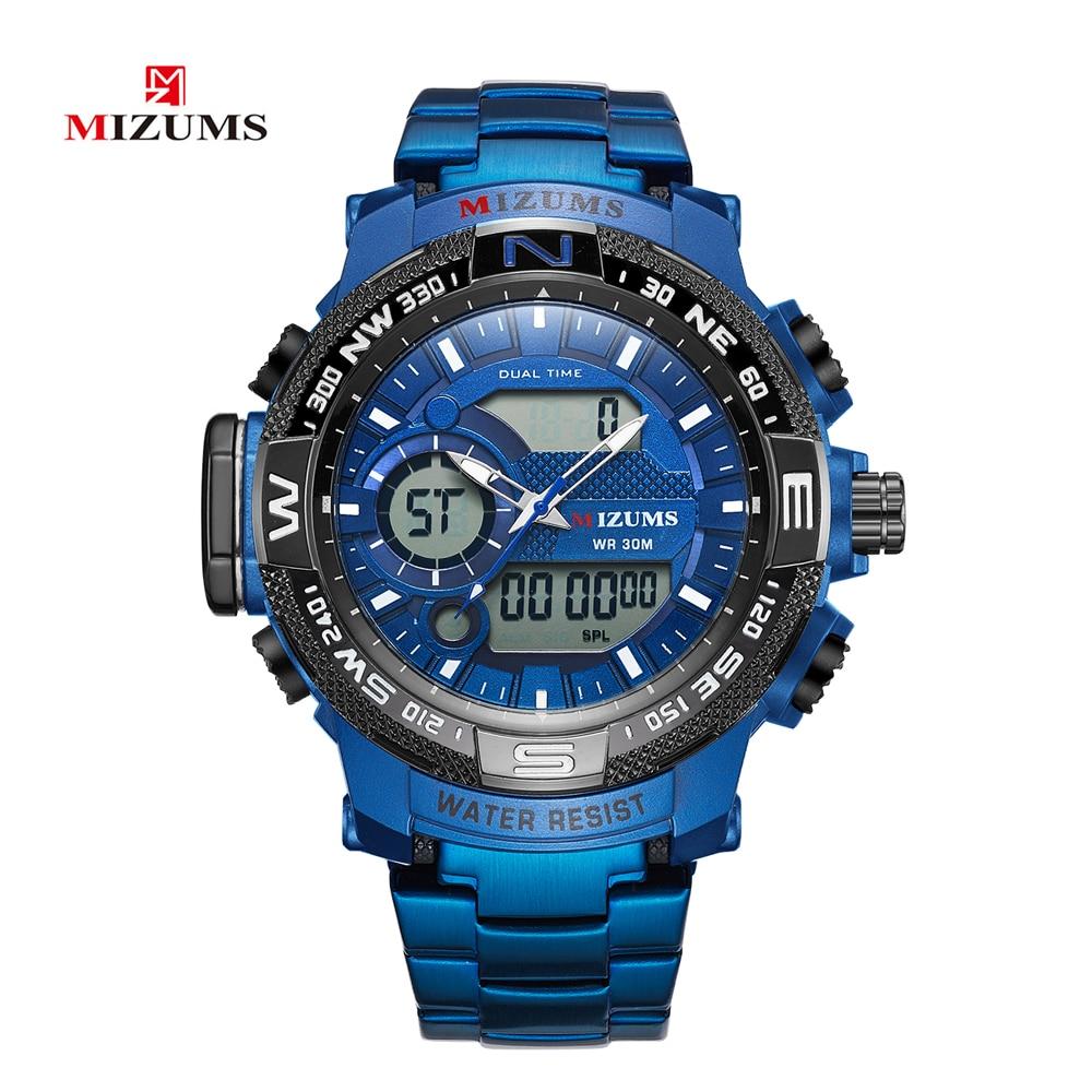 Top Luxury Brand MIZUMS Men Military Waterproof Digital Sport Watches Mens Clock Male Wrist Quartz Watch Relogio Masculino XFCS-in Quartz Watches from Watches