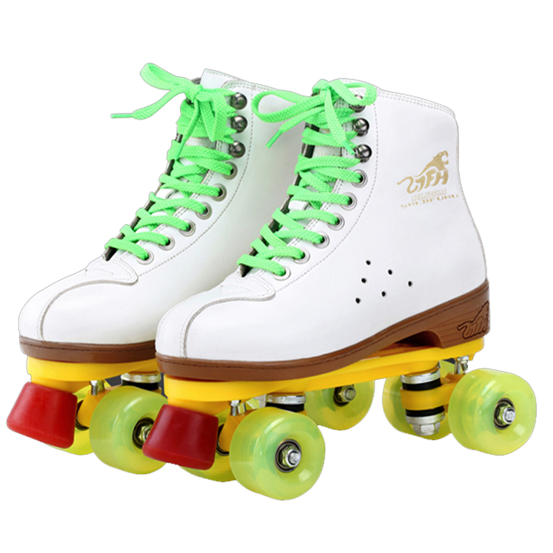 Cowhide Leather Two Line Roller Skating Shoes Double Row White Skates Children Adult Parenting Sneakers 4 PU Wheels Unisex IB45