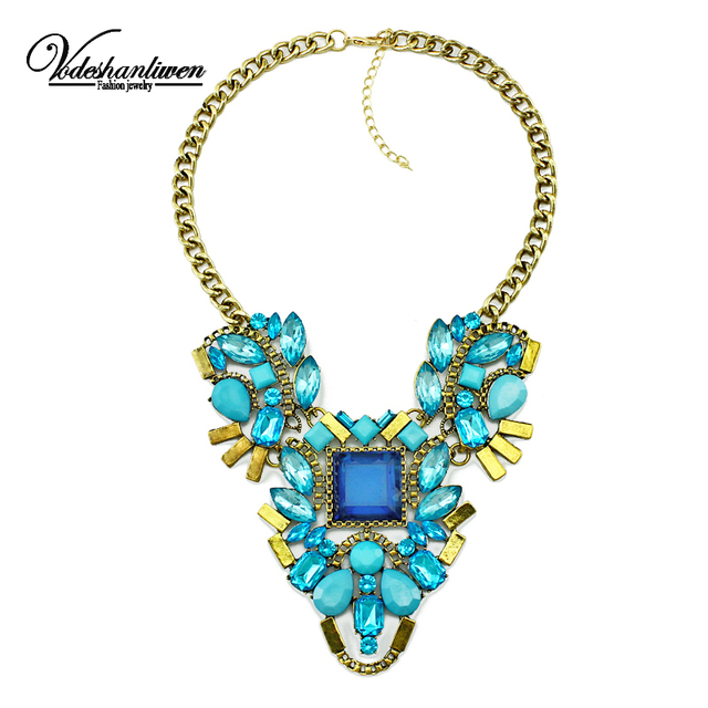 Vodeshanliwen Fashion luxury Crystal Necklaces & Pendants Waterdrop Resin Vintage choker statement necklace women jewelry