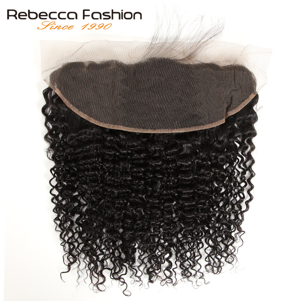 Rebecca Remy Brazilian Curly Human Hair Lace Frontal Closure With Baby Hair 13x4 Ear To Ear Frontal Lace Closure 8-20 Inch