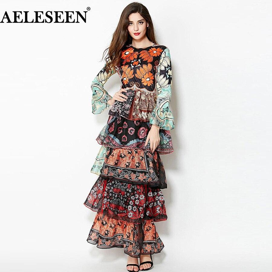 AELESEEN デザイナードレス 2018 秋の滑走路新フルスリーブヴィンテージカスケードフリル高級フローラルプリントマキシロングドレス  グループ上の レディース衣服 からの ドレス の中 1